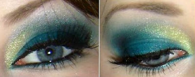 Smoky eyes in gold and turquoise